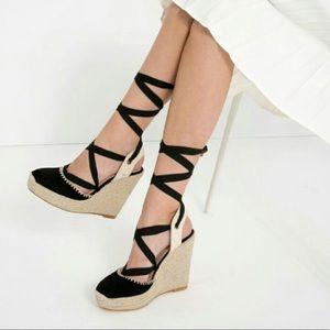 Black Zara espadrille wedge lace up heels